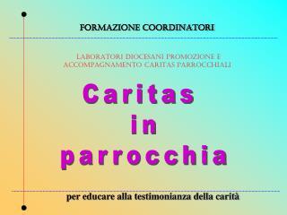 FORMAZIONE COORDINATORI LABORATORI DIOCESANI PROMOZIONE E ACCOMPAGNAMENTO CARITAS PARROCCHIALI