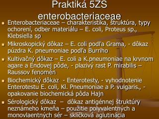 Praktik� 5ZS enterobacteriaceae