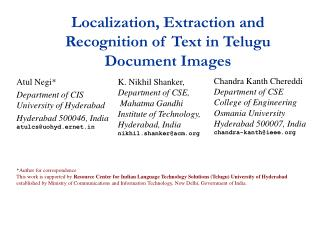 Localization, Extraction and Recognition of Text in Telugu Document Images