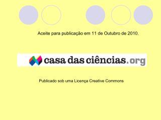 Aceite para publica��o em 11 de Outubro de 2010.