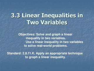 3.3 Linear Inequalities in Two Variables
