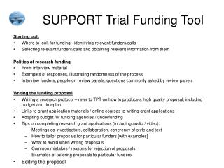 SUPPORT Trial Funding Tool