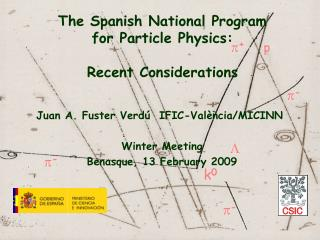 The Spanish National Program for Particle Physics:  Recent Considerations