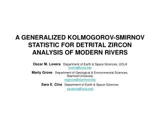 A GENERALIZED KOLMOGOROV-SMIRNOV STATISTIC FOR DETRITAL ZIRCON ANALYSIS OF MODERN RIVERS