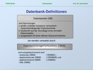 Datenbank-Definitionen