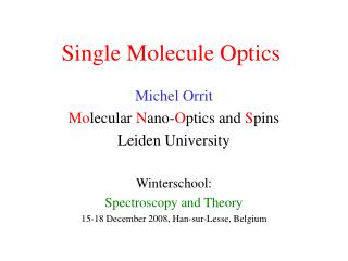 Single Molecule Optics