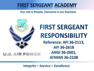 FIRST SERGEANT RESPONSIBILITY Reference: AFI 36-2113,  AFI 36-2618 ANGI 36-2601, AFMAN 36-2108