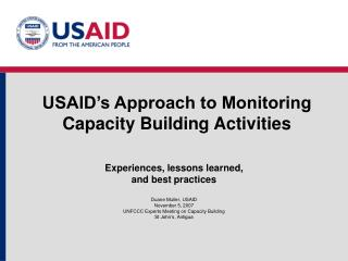 USAID's Approach to Monitoring Capacity Building Activities