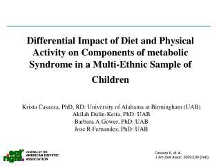 Krista Casazza, PhD, RD: University of Alabama at Birmingham (UAB) Akilah Dulin-Keita, PhD: UAB