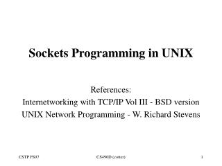 Sockets Programming in UNIX