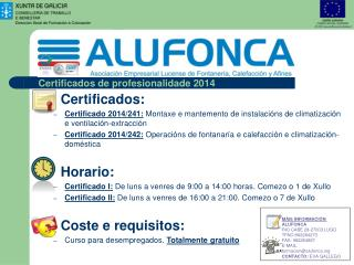 Certificados de profesionalidade 2014