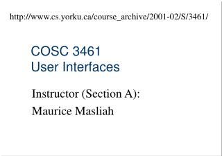 COSC 3461 User Interfaces