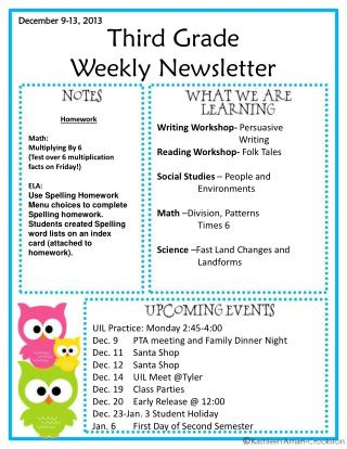 Third Grade Weekly Newsletter