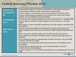 Federal Advocacy Priorities 2012