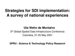 Strategies for SDI implementation: A survey of national experiences