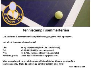 Tenniscamp i sommerferien