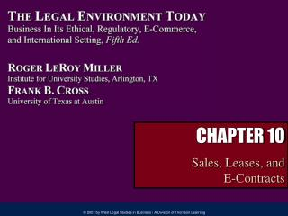 CHAPTER 10 Sales, Leases, and  E-Contracts