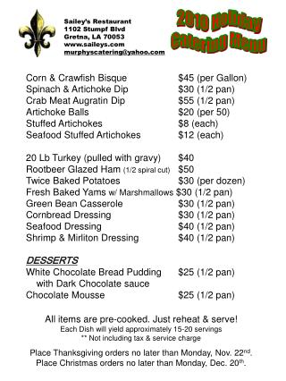 Sailey s Restaurant 1102 Stumpf Blvd Gretna, LA 70053 saileys murphyscateringyahoo