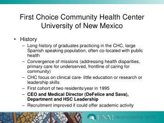 First Choice Community Health Center  University of New Mexico