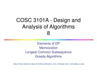 COSC 3101A - Design and Analysis of Algorithms 8