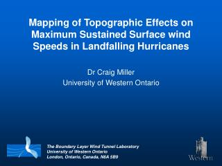 Mapping of Topographic Effects on Maximum Sustained Surface wind Speeds in Landfalling Hurricanes