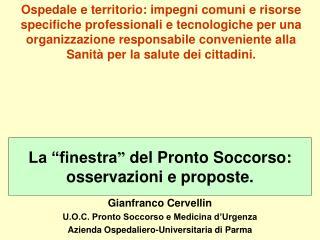 Gianfranco Cervellin U.O.C. Pronto Soccorso e Medicina d�Urgenza