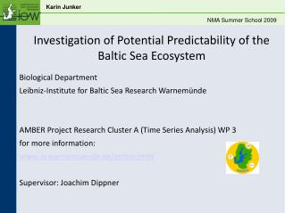 Investigation of Potential Predictability of the Baltic Sea Ecosystem