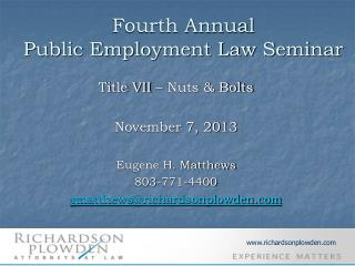 Fourth Annual Public Employment Law Seminar