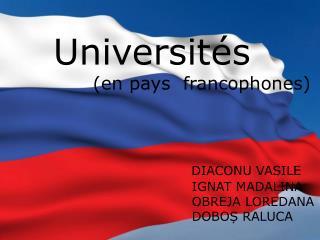 Les universités francophones         dans  le monde