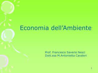 Economia dell'Ambiente Prof. Francesco Saverio NesciDott.ssa M.Antonietta Cavaleri