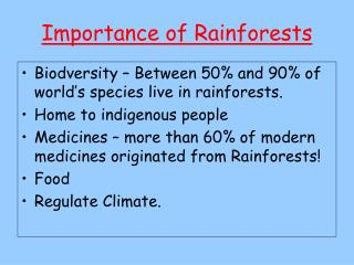 Importance of Rainforests