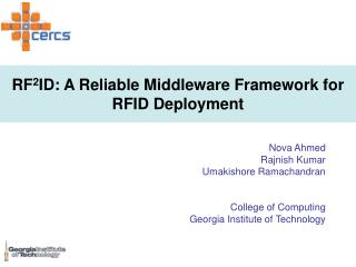 RF 2 ID: A Reliable Middleware Framework for RFID Deployment