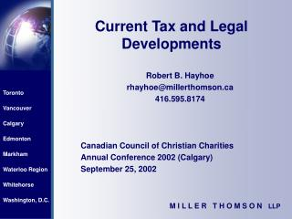 Current Tax and Legal Developments