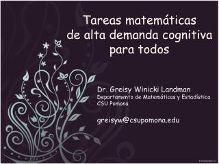 Tareas matemáticas  de alta demanda cognitiva  para todos