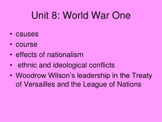 Unit 8: World War One