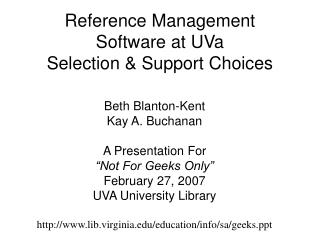 Reference Management Software at UVa Selection & Support Choices