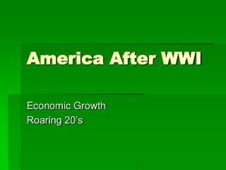 America After WWI