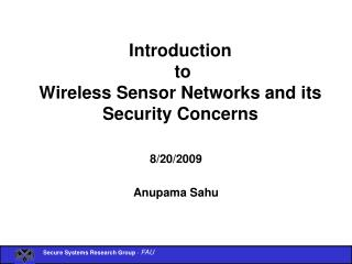 Introduction  to  Wireless Sensor Networks and its Security Concerns