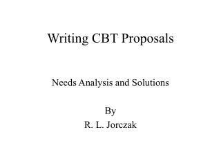 Writing CBT Proposals