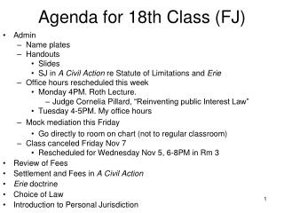 Agenda for  18th Class (FJ)