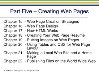 Part Five – Creating Web Pages