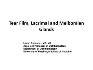 Tear Film, Lacrimal and Meibomian Glands