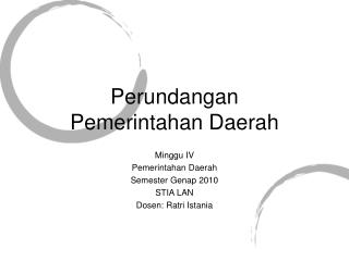 Perundangan  Pemerintahan Daerah