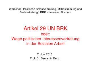 Artikel 29 UN BRK oder: Wege politischer Interessenvertretung in der Sozialen Arbeit