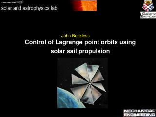 Control of Lagrange point orbits using  solar sail propulsion