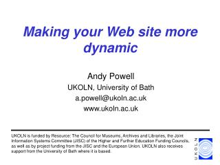 Making your Web site more dynamic