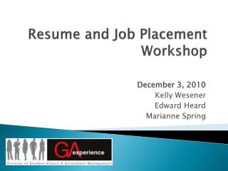 Resume and Job Placement Workshop