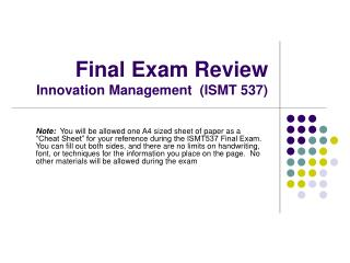 Final Exam Review Innovation Management  (ISMT 537)