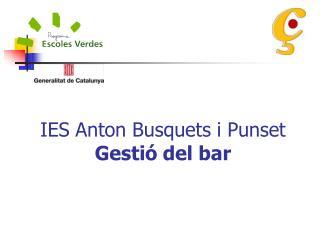 IES Anton Busquets i Punset  Gesti� del bar