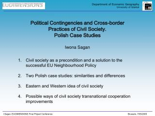 Political Contingencies and Cross-border Practices of Civil Society.  Polish Case Studies